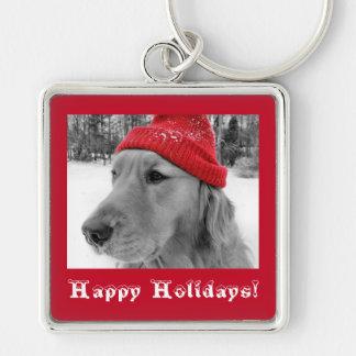 Golden Retriever Happy Holidays Keychain