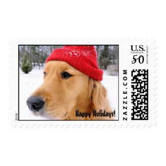 Golden Retriever Happy Holidays Postage