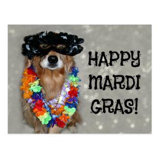 Golden Retriever Happy Mardi Gras Post Cards