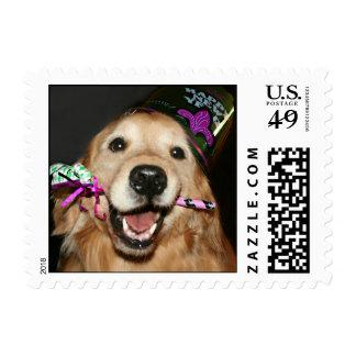 Golden Retriever Happy New Year Stamp
