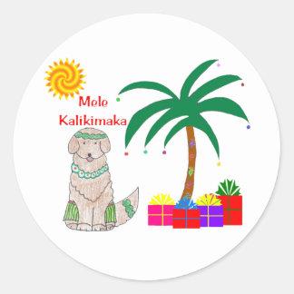 Golden Retriever Hawaiian Christmas Classic Round Sticker