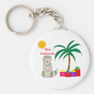 Golden Retriever Hawaiian Christmas Keychain