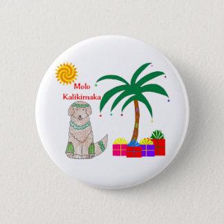 Golden Retriever Hawaiian Christmas Pinback Button