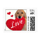 Golden Retriever Heart Love Postage Stamp
