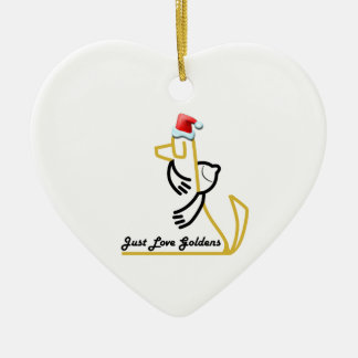 Golden Retriever Heart Ornament, Just Love Goldens Ceramic Ornament