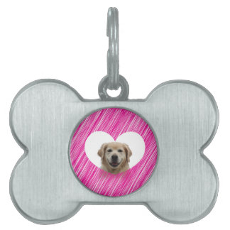 Golden Retriever Heart Valentine's Day Pet ID Tag