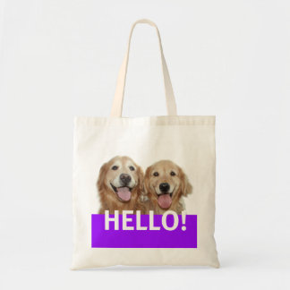 Golden Retriever Hello Tote Bag