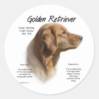 Golden Retriever History Design Classic Round Sticker