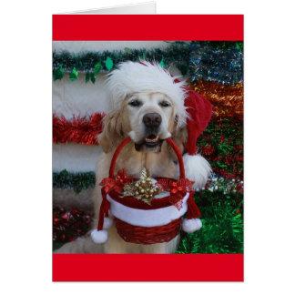 Golden Retriever holding a Christmas Basket Card