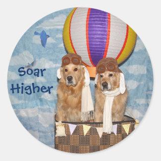 Golden Retriever Hot Air Balloon Pilots Classic Round Sticker