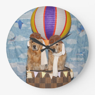 Golden Retriever Hot Air Balloon Pilots Large Clock