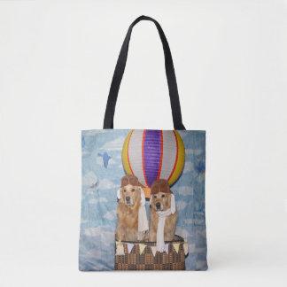 Golden Retriever Hot Air Balloon Pilots Tote Bag