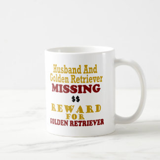 Golden Retriever & Husband Missing Reward For Gold Coffee Mug
