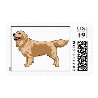 Golden Retriever Illustrated Postage Stamp