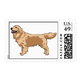 Golden Retriever Illustrated Postage Stamp