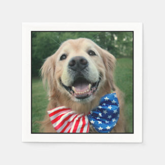Golden Retriever in Bow Tie Independence Day Paper Napkin