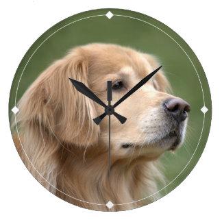 Golden Retriever in Closeup Large Clock