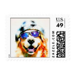 Golden Retriever in Hat and Sunglasses Watercolor Postage Stamp