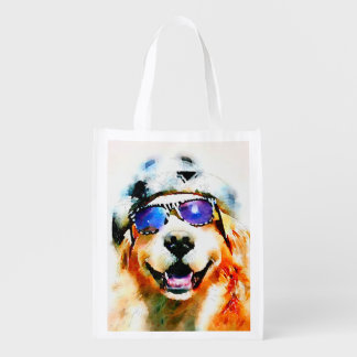 Golden Retriever in Hat and Sunglasses Watercolor Grocery Bag