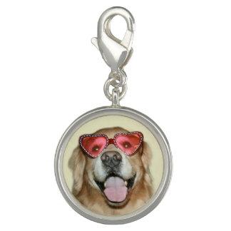 Golden Retriever in Heart Glasses Valentine's Day Charm