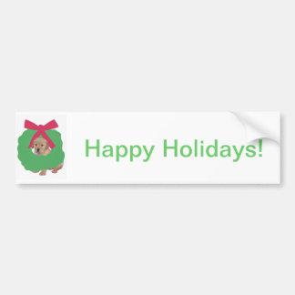 Golden Retriever in Holiday Wreath Bumper Sticker