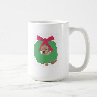 Golden Retriever in Holiday Wreath Coffee Mug