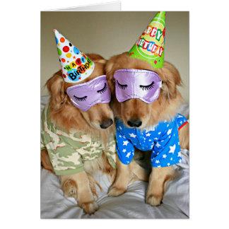 Golden Retriever in Pajamas Birthday Card