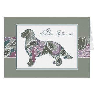 Golden Retriever in Sage Blush Garden Pattern, Card