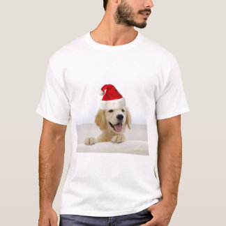 Golden Retriever In Santa Hat men's T Shirts