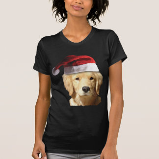 Golden Retriever In Santa Hat Shirt
