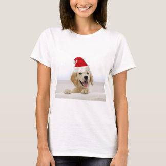 Golden Retriever In Santa Hat T Shirts