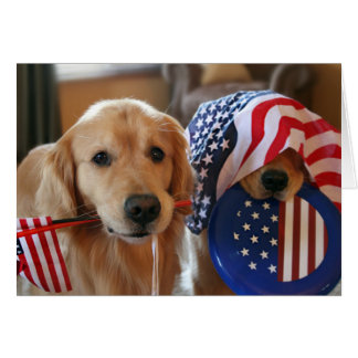 Golden Retriever Independence Day Greeting Card