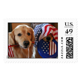Golden Retriever Independence Day Postage Stamp