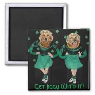 Golden Retriever Irish Stepdancers Getting Jiggy Magnet