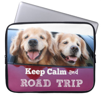 Golden Retriever Keep Calm and Road Trip Computer Sleeve