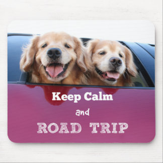 Golden Retriever Keep Calm and Road Trip Mouse Pad