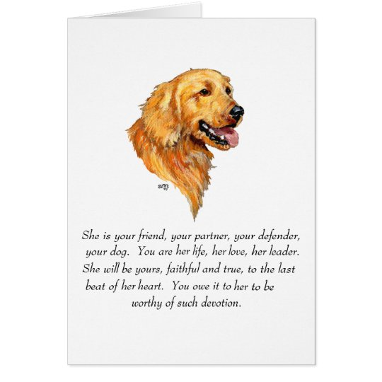 Golden Retriever Keepsake Card