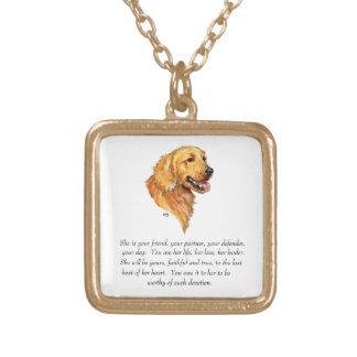 Golden Retriever Keepsake Gold Plated Necklace
