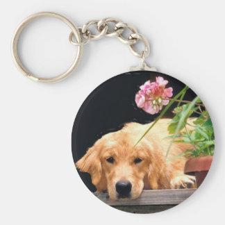 Golden Retriever Keychain With Flower