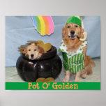 Golden Retriever Leprechaun's Pot of Golden Poster