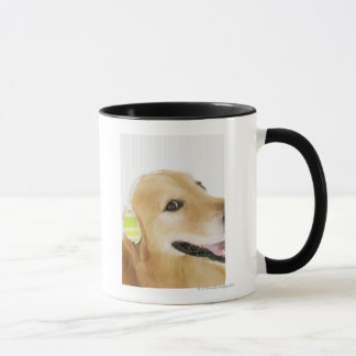 Golden retriever listening to music mug