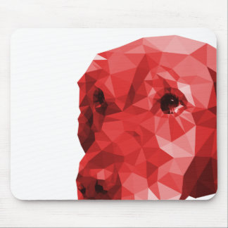 Golden Retriever Low Poly Art in Red Mouse Pad