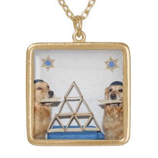 Golden Retriever Matzoh Fun Passover Square Pendant Necklace