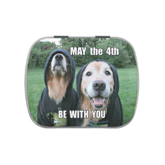 Golden Retriever May the 4th Be With You Parody Candy Tin