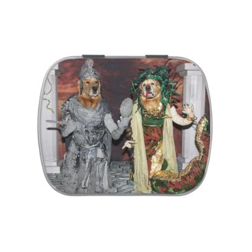 Halloween Themed Golden Retriever Medusa and Stone Soldier Jelly Belly Tin