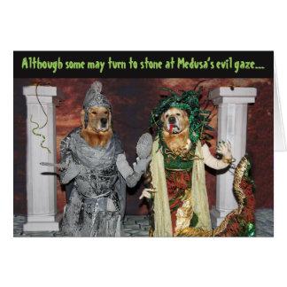 Golden Retriever Medusa Halloween Card