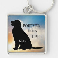 Golden Retriever Memorial Custom Name Silhouette Keychain