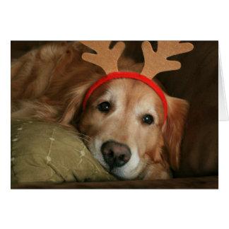 Golden Retriever Miss You Christmas Card