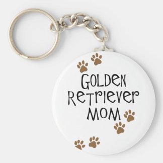 Golden Retriever Mom Basic Round Button Keychain
