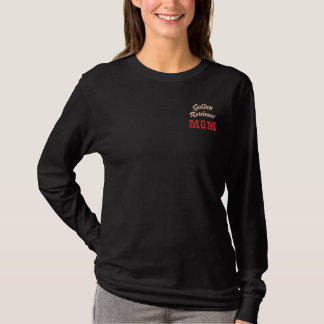 Golden Retriever Mom Text & Paw Print Embroidered Long Sleeve T-Shirt